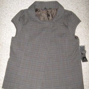 Gray Brown Blue Plaid Cap Sleeve Vest Blazer Top S